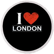I Love London Round Beach Towel