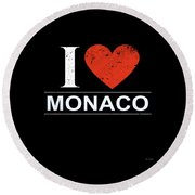 I Love Monaco Round Beach Towel