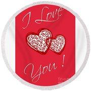 I Love You Hearts Round Beach Towel