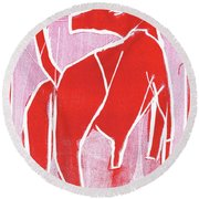 I Was Born In A Mine Red Dog 34 Round Beach Towel