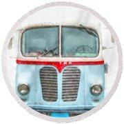 Ice Cream Food Truck Metro Van Round Beach Towel
