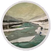 Icey River Round Beach Towel