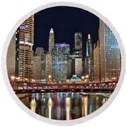 Iconic Night View Down The River Round Beach Towel