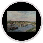 Idle Barges On The Loing Canal At Saint-mammes Round Beach Towel