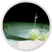 Illuminated Yucca At Night In White Sands National Monument, New Mexico - Newm500 00108 Round Beach Towel
