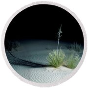 Illuminated Yucca At Night In White Sands National Monument, New Mexico - Newm500 00110 Round Beach Towel