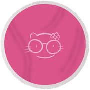 Illustration Of A Kawaii Nerd Hello Kitty In Hot Pink Round Beach Towel