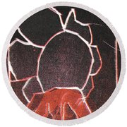 Image 23 I Was Born In A Mine Woodcut Round Beach Towel