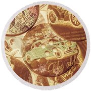 In Fashion Of Classic Cars Round Beach Towel