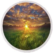 In The Arms Of An Angel Round Beach Towel