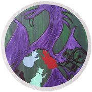 In The Belly Of The Dragon Round Beach Towel