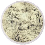 In The Fields At Ennery, 1875 Round Beach Towel