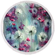 In The Night Garden - Pink Buds  Round Beach Towel
