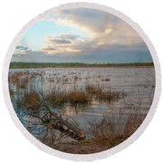 Incoming In The New Jersey Pine Barrens Round Beach Towel by Kristia Adams