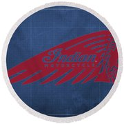 Indian Motorcycle Old Vintage Logo Blue Background Round Beach Towel