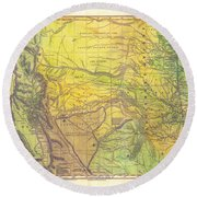Indian Territory Tribal Map Northern Texas Round Beach Towel