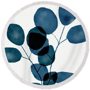 Indigo Eucalyptus 3- Art By Linda Woods Round Beach Towel