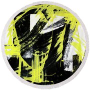 Industrial Abstract Painting II Round Beach Towel