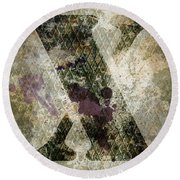 Industrial Letter X Round Beach Towel
