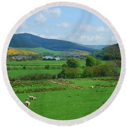 Innerleithen And Tweed Valley Looking East Round Beach Towel