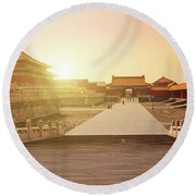 Inside The Forbidden City Round Beach Towel
