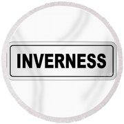 Inverness City Nameplate Round Beach Towel