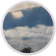 Iridescent Clouds 02 Round Beach Towel by Rob Graham