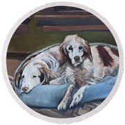 Irish Red And White Setters - Archer Dogs Round Beach Towel
