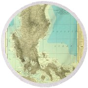 Island Of Luzon - Old Cartographic Map - Antique Maps Round Beach Towel
