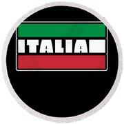 Italian Italy Flag Cool Graphic Italia Soccer Football Round Beach Towel