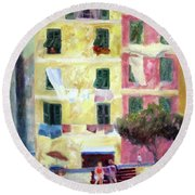 Italian Piazza With Laundry Round Beach Towel