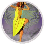 Jacinta In Yellow Round Beach Towel