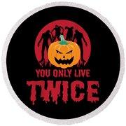 Jackolantern Scary Ghost Zombie Pumpkin Halloween Dark Round Beach Towel