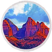 Jack's Canyon Village Of Oak Creek Arizona Sunset Red Rocks Blue Cloudy Sky 3152019 5080  Round Beach Towel