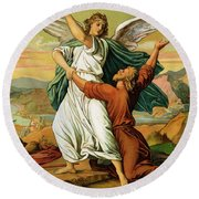 Jacob Wrestiling With The Angel  Round Beach Towel