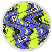 Janca Yellow And Blue Wave Abstract, Round Beach Towel