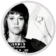 Jane Fonda Mug Shot Round Beach Towel
