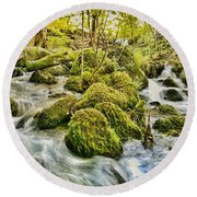 Janet's Foss Flow  Round Beach Towel