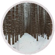January Forest Round Beach Towel