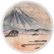 Japan Art And Mount Fuji - Suzuki Kiitsu In Color By Sawako Utsumi Round Beach Towel