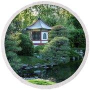 Japanese Garden #4 - Island Pagoda Vertical Round Beach Towel