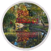 Japanese Garden Red Bridge Reflection Round Beach Towel