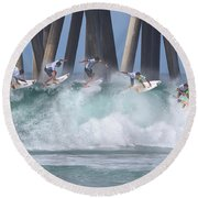Jeremy Flores Surfing Composite Round Beach Towel