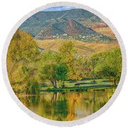 Jerome Reflected In Deadhorse Ranch Pond Round Beach Towel