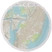 Jersey City New Jersey Us City Street Map Round Beach Towel