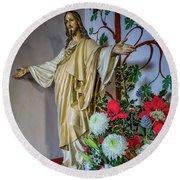 Jesus Christ With Flowers Round Beach Towel