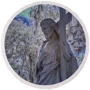 Jesus Graveyard Statue Round Beach Towel