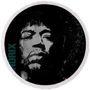 Jimi Hendrix - Retro Black  Round Beach Towel