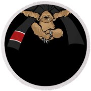 Jiu Jitsu Bjj Sloth Black Belt Light Round Beach Towel