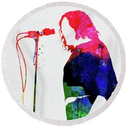Joe Cocker Watercolor Round Beach Towel